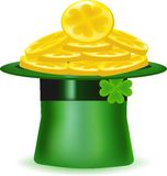 Hat with gold coins, an icon for a St. Patrick's Day, Royalty Free Stock Photos