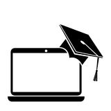 hat graduation with laptop isolated icon Stock Photo
