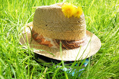 Hat on the grass Royalty Free Stock Image