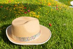 Hat on grass. lawn Stock Photo