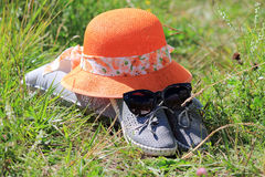 Hat on the grass Stock Photography