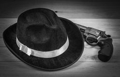 Hat and gun. Image of hat and gun mafia close up Stock Photos