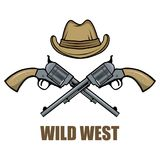 Hat and guns cowboy. Cartoon picture of the wild west. Cowboy Concept. Vector graphics to design Royalty Free Stock Image