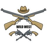Hat and guns cowboy. Cartoon picture of the wild west. Cowboy Concept. Vector graphics to design Stock Photography