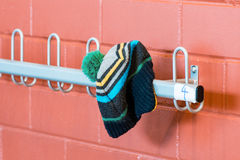 Hat on the hanger. The Hat on the hanger in a elementary school Royalty Free Stock Photos