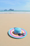 Hat on Happy Beach and bule sky  in Krabi Thailand Royalty Free Stock Images