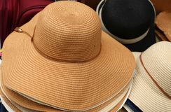 A hat is a hat with a tail and usually with a brim. Hat - a strip of material protruding beyond the edges of the crown, to protect the face, shoulders, neck from stock photo