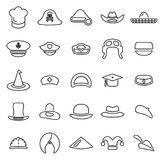 Hat or Headwear Icons Thin Line Vector Illustration Set vector illustration