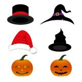 Hat Holiday Set. Magician, Witch, Santa, Pumpkin Halloween Hat isolated on White Background. Vector Illustration. vector illustration