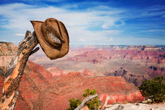 Hat hung on a branch near the Grand Canyon Royalty Free Stock Photos