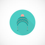 Hat icon in flat style. Clothes and fashion flat icon with long shadow. Cute hat for cold weather royalty free illustration