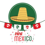 Hat icon. Mexico culture. Vector graphic. Mexico culture concept represented by hat over seal stamp icon. Colorfull and flat illustration royalty free stock photos