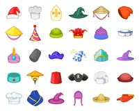 Hat icon set, cartoon style. Hat icon set. Cartoon set of hat vector icons for your web design isolated on white background Royalty Free Stock Photos