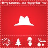 Hat Icon Vector. And bonus symbol for New Year - Santa Claus, Christmas Tree, Firework, Balls on deer antlers Stock Image