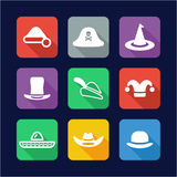 Hat Icons. Flat Design Royalty Free Stock Photo