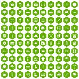 100 hat icons hexagon green. 100 hat icons set in green hexagon isolated vector illustration Stock Photo
