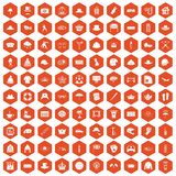 100 hat icons hexagon orange. 100 hat icons set in orange hexagon isolated vector illustration Stock Illustration