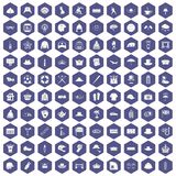 100 hat icons hexagon purple. 100 hat icons set in purple hexagon isolated vector illustration Royalty Free Stock Photos