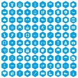 100 hat icons set blue. 100 hat icons set in blue hexagon isolated vector illustration Stock Photography