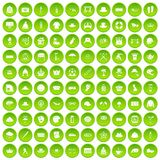 100 hat icons set green circle. Isolated on white background vector illustration Stock Images