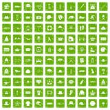 100 hat icons set grunge green Stock Photography