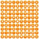 100 hat icons set orange. 100 hat icons set in orange circle isolated on white vector illustration Stock Photo