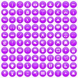 100 hat icons set purple. 100 hat icons set in purple circle isolated on white vector illustration Stock Photos