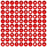 100 hat icons set red Stock Image