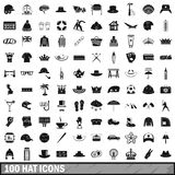 100 hat icons set, simple style Royalty Free Stock Photo