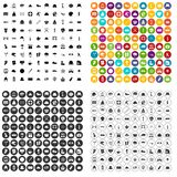 100 hat icons set variant. 100 hat icons set in 4 variant for any web design isolated on white vector illustration