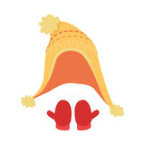 Hat. Icons with Yellow Headwear and Red Mittens stock illustration