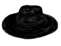 Hat illustration. Hand drawn straw hat on white background Royalty Free Illustration