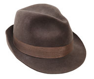 Hat isolated. Male winter brown hat isolated Stock Images