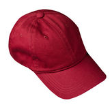 Hat isolated on white background. Hat with a visor.dark red hat Stock Photo
