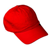 Hat isolated on white background. Hat with a visor.red hat Royalty Free Stock Photography