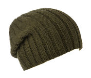 Hat isolated on white background .knitted hat .dark green hat Stock Photography