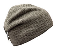 Hat isolated on white background .knitted hat .gray cap in a ca Stock Photos