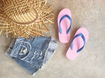 Hat jean slippers summer look Stock Photography