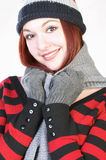 hat knit wearing woman young Στοκ εικόνα με δικαίωμα ελεύθερης χρήσης
