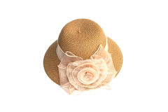 Hat for lady or pretty straw hat with flower Royalty Free Stock Photo