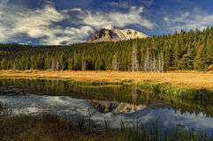 Hat Lake and Lassen Peak, Lassen Volcanic National Park Royalty Free Stock Images