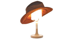 Hat on a Lamp. A hat on a lamp stock photo