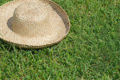 Hat on the lawn background Stock Photos
