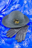 Hat and leather gloves. Felt hat with leather gloves and blue shawl Royalty Free Stock Photos