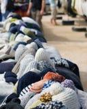 Hat Lineup. A lineup of hats for sale at a local market.  Cape Saint Vincent, Sagres, Portugal Stock Image