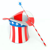 Hat and magic wand. Hat uncle sam and magic wand Stock Images