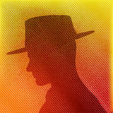 Hat Man. Texture background with male head in silhouette vector illustration