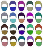 Hat with a mask in different colors. Raster. 1 Royalty Free Stock Image