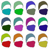 Hat with a mask in different colors. Raster. 2 Stock Photo