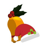 Hat of Merry Christmas design. Hat and bell icon. Merry Christmas season decoration figure theme.  design. Vector illustration Royalty Free Stock Photos